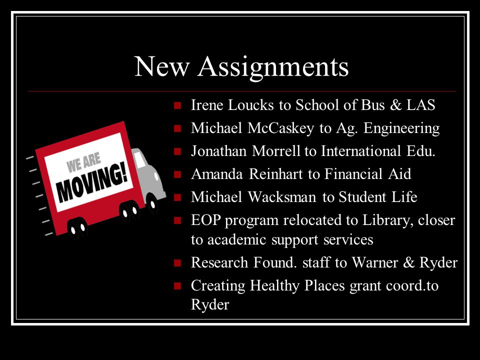 New Assignments Irene Loucks to School of Bus & LAS Michael McCaskey to Ag.