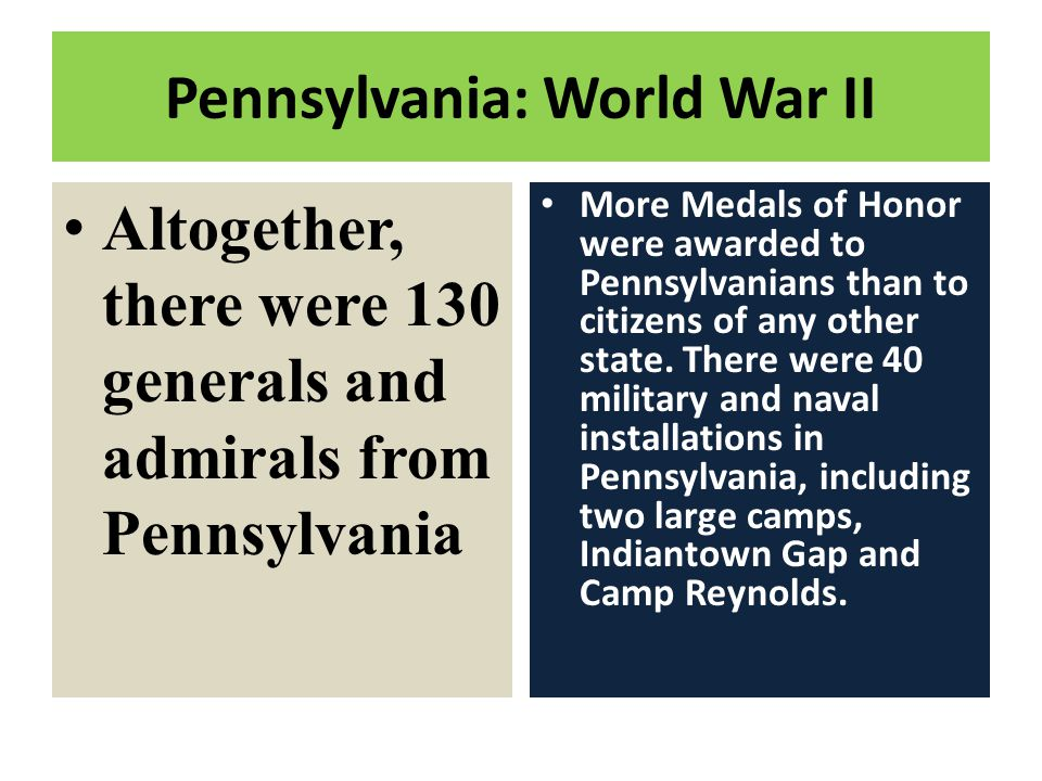 Pennsylvania: World War II More Medals of Honor were awarded to Pennsylvanians than to citizens of any other state. There were 40 military and naval i