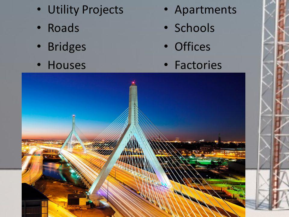 Utility Projects Roads Bridges Houses Apartments Schools Offices Factories