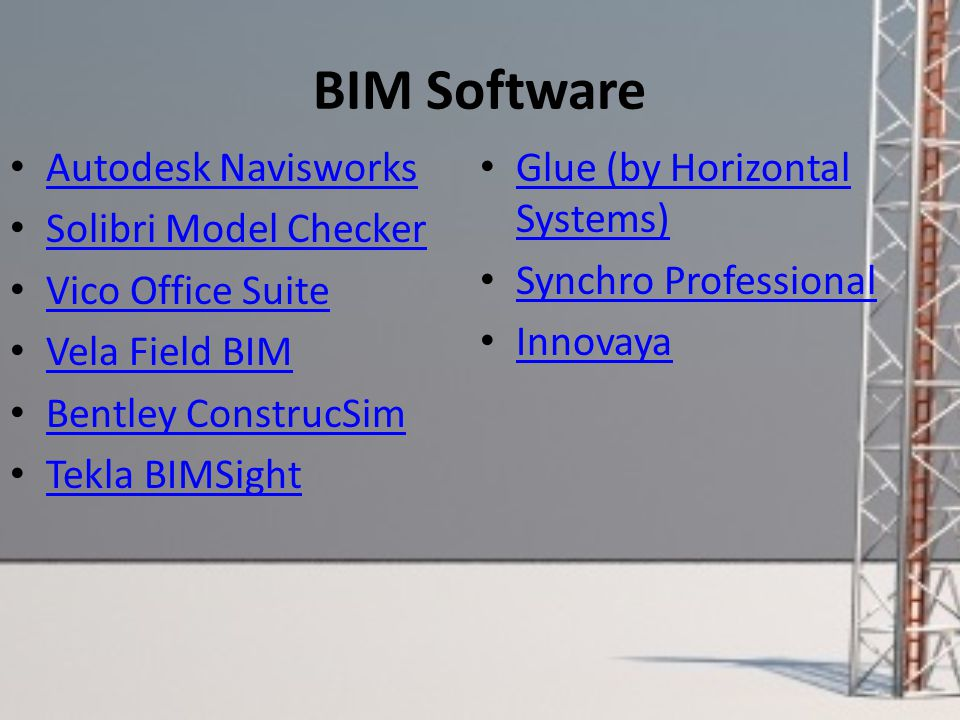 BIM Software Autodesk Navisworks Solibri Model Checker Vico Office Suite Vela Field BIM Bentley ConstrucSim Tekla BIMSight Glue (by Horizontal Systems