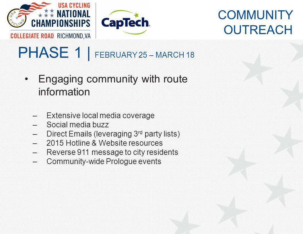 PHASE 1 | FEBRUARY 25 – MARCH 18 Engaging community with route information –Extensive local media coverage –Social media buzz –Direct Emails (leveraging 3 rd party lists) –2015 Hotline & Website resources –Reverse 911 message to city residents –Community-wide Prologue events COMMUNITY OUTREACH