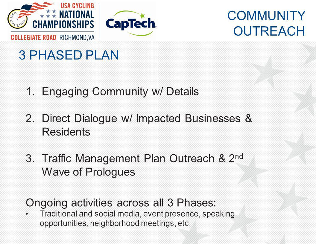 3 PHASED PLAN 1.Engaging Community w/ Details 2.Direct Dialogue w/ Impacted Businesses & Residents 3.Traffic Management Plan Outreach & 2 nd Wave of Prologues Ongoing activities across all 3 Phases: Traditional and social media, event presence, speaking opportunities, neighborhood meetings, etc.