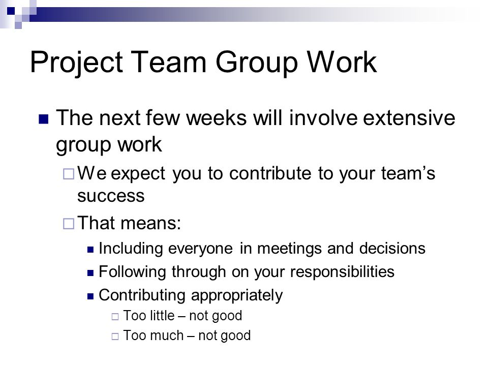 Project Team Group Work The next few weeks will involve extensive group work We expect you to contribute to your teams success That means: Including everyone in meetings and decisions Following through on your responsibilities Contributing appropriately Too little – not good Too much – not good