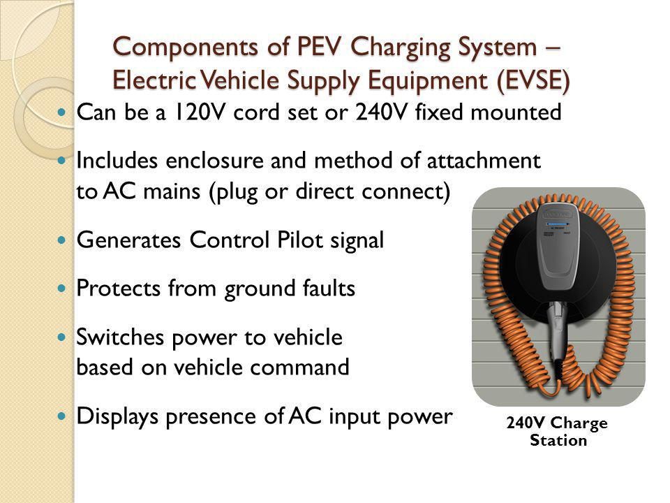Components of PEV Charging System – Electric Vehicle Supply Equipment (EVSE) Can be a 120V cord set or 240V fixed mounted Includes enclosure and metho