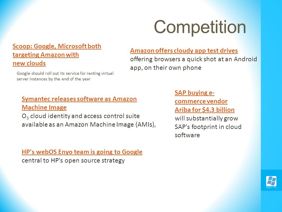 Competition Scoop: Google, Microsoft both targeting Amazon with new clouds HP's webOS Enyo team is going to Google central to HP's open source strateg