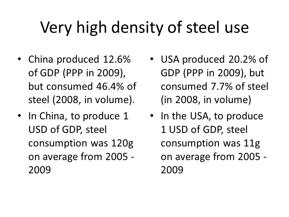 Very high density of steel use China produced 12.6% of GDP (PPP in 2009), but consumed 46.4% of steel (2008, in volume).