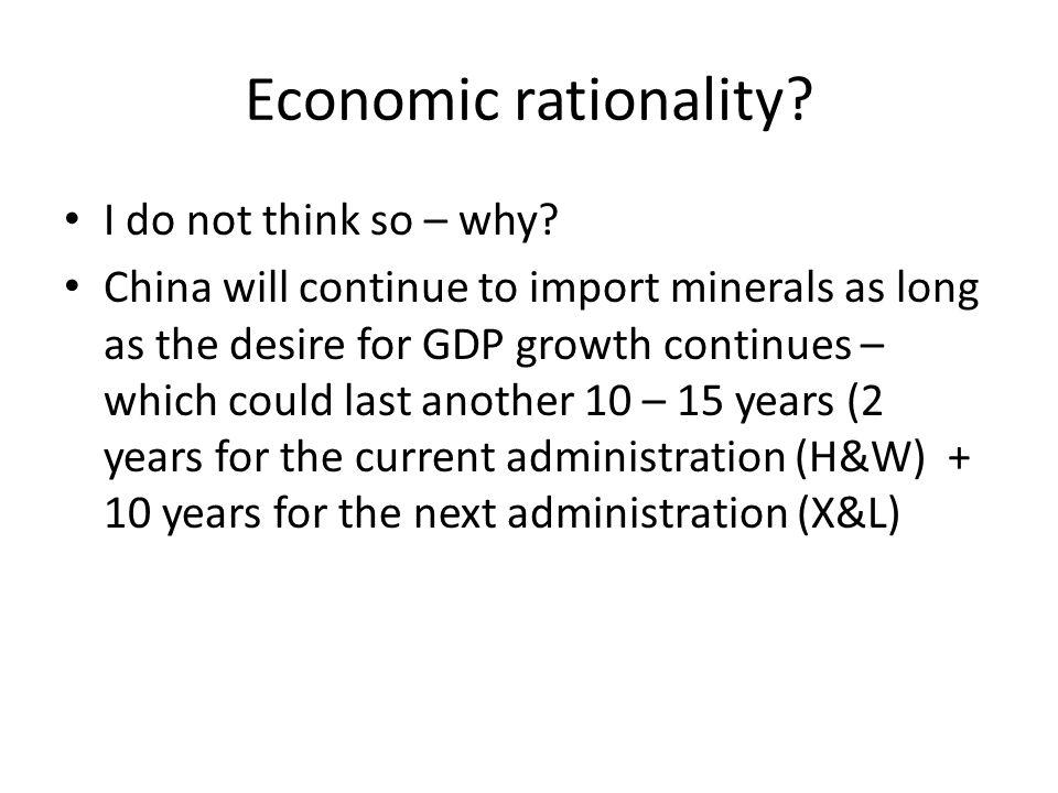 Economic rationality. I do not think so – why.