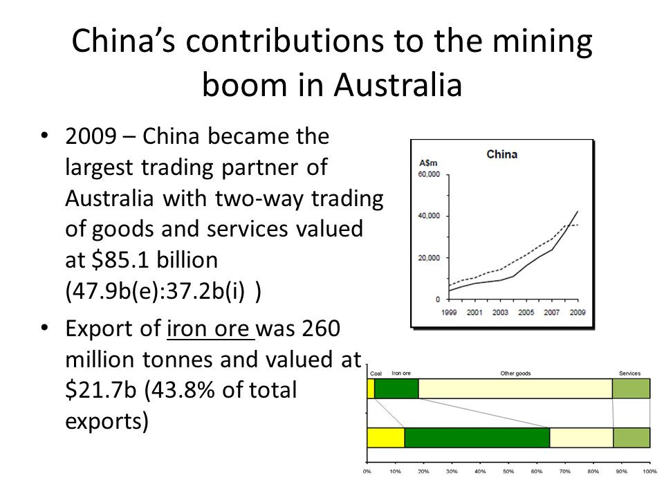 Chinas contributions to the mining boom in Australia 2009 – China became the largest trading partner of Australia with two-way trading of goods and services valued at $85.1 billion (47.9b(e):37.2b(i) ) Export of iron ore was 260 million tonnes and valued at $21.7b (43.8% of total exports)