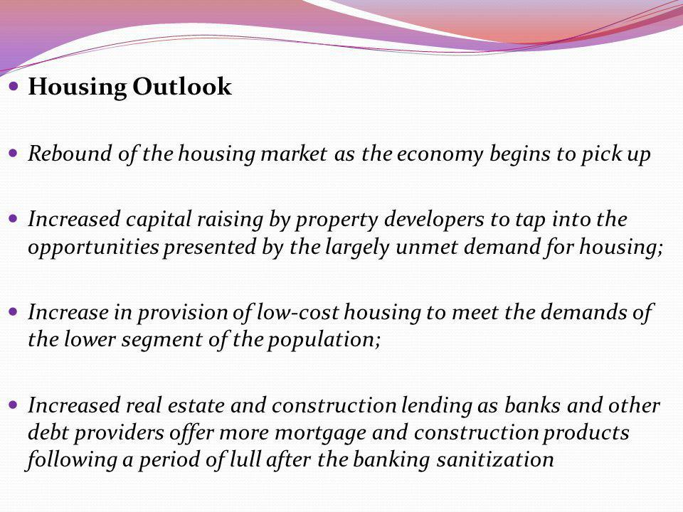 Housing Outlook Rebound of the housing market as the economy begins to pick up Increased capital raising by property developers to tap into the opport
