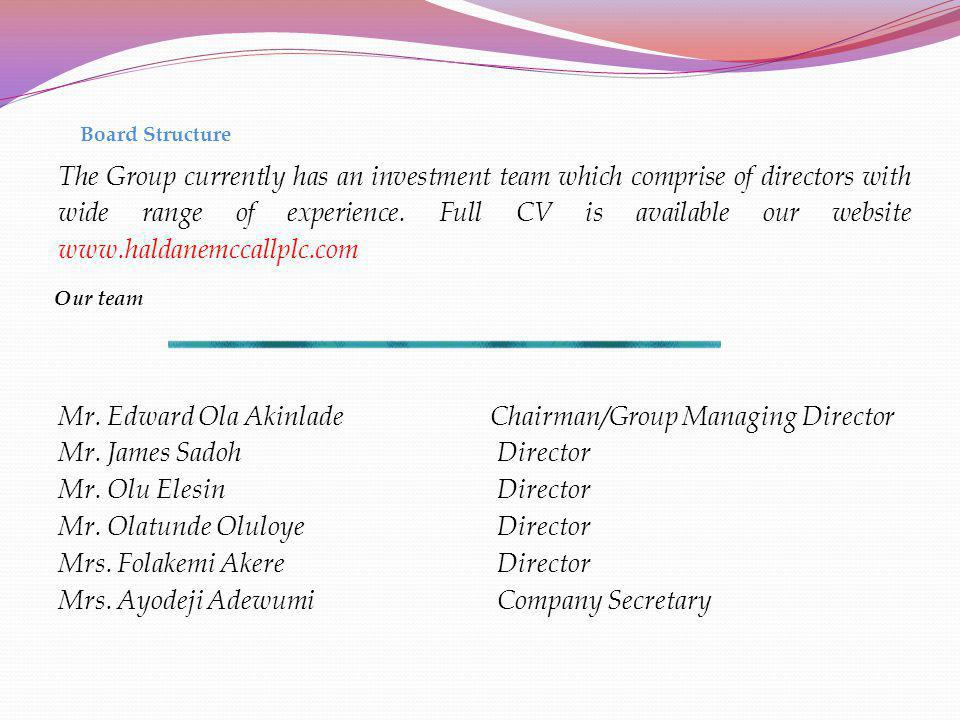 Board Structure The Group currently has an investment team which comprise of directors with wide range of experience. Full CV is available our website