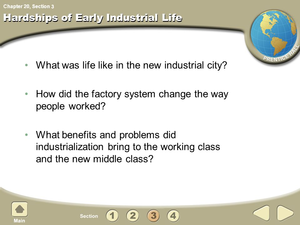 Chapter 20, Section Hardships of Early Industrial Life What was life like in the new industrial city? How did the factory system change the way people