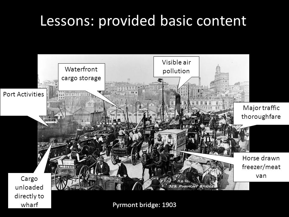 Lessons: provided basic content Major traffic thoroughfare Port Activities Visible air pollution Waterfront cargo storage Cargo unloaded directly to w