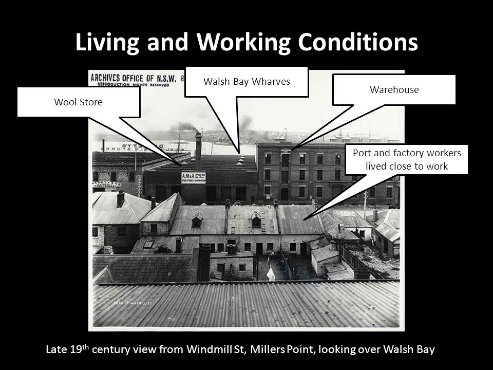 Late 19 th century view from Windmill St, Millers Point, looking over Walsh Bay Living and Working Conditions 19 Gloucester Street, The Rocks Warehous