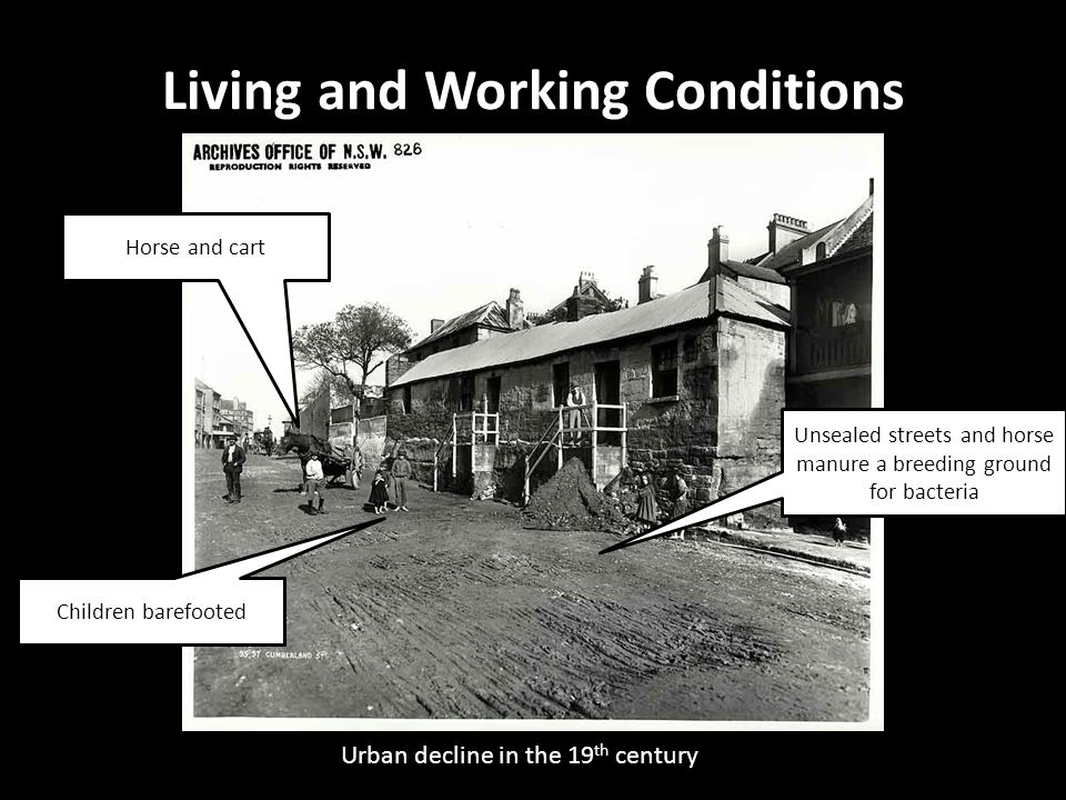 Urban decline in the 19 th century Living and Working Conditions Unsealed streets and horse manure a breeding ground for bacteria Horse and cart Child