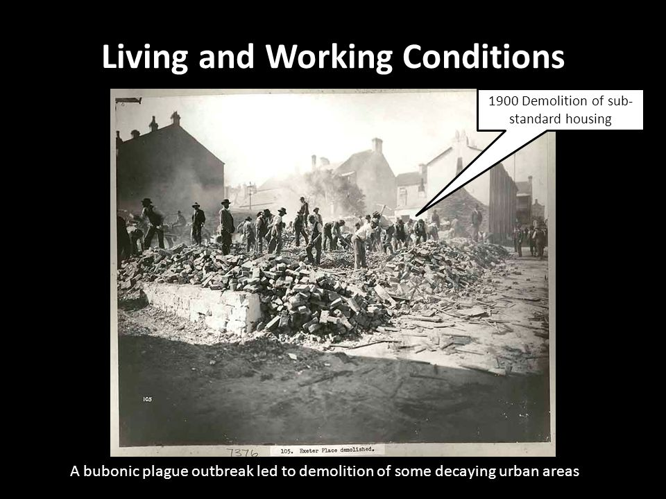 A bubonic plague outbreak led to demolition of some decaying urban areas Living and Working Conditions 19 Gloucester Street, The Rocks 1900 Demolition