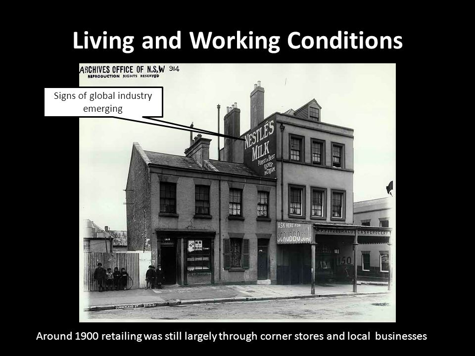 Around 1900 retailing was still largely through corner stores and local businesses Living and Working Conditions 19 Gloucester Street, The Rocks Signs