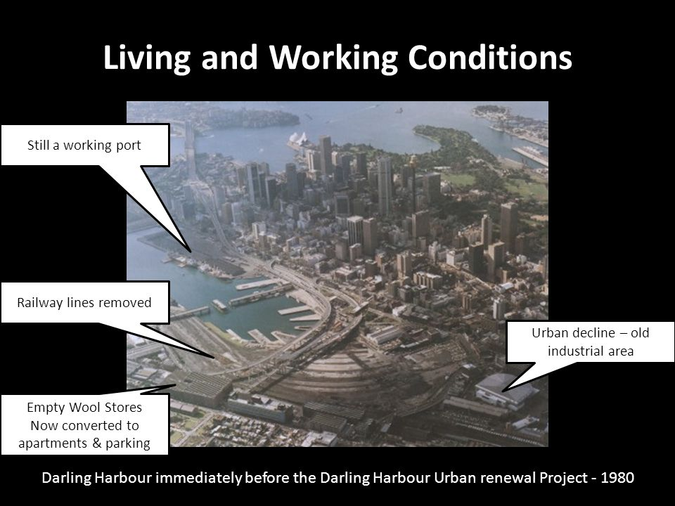 Darling Harbour immediately before the Darling Harbour Urban renewal Project - 1980 Living and Working Conditions 19 Gloucester Street, The Rocks Rail