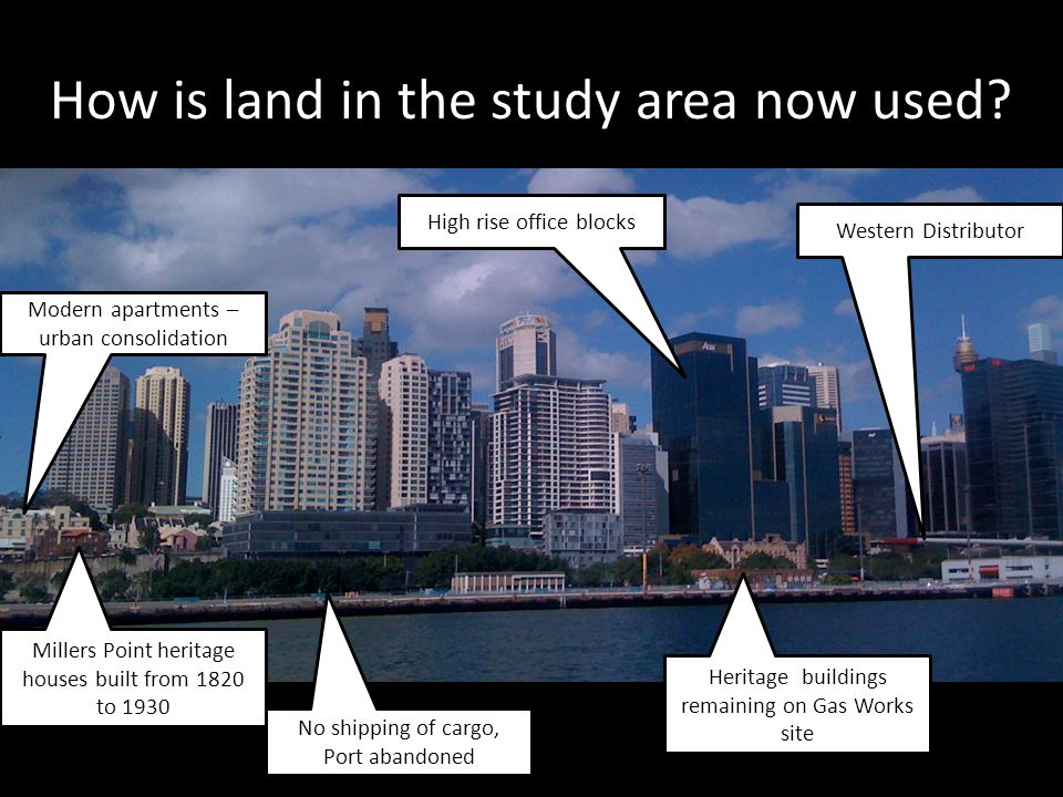 How is land in the study area now used? No shipping of cargo, Port abandoned Millers Point heritage houses built from 1820 to 1930 Heritage buildings
