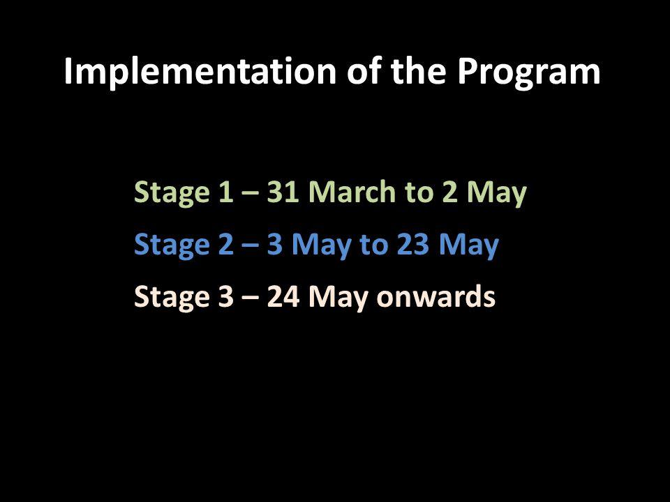 Stage 1 – 31 March to 2 May Stage 2 – 3 May to 23 May Stage 3 – 24 May onwards Implementation of the Program