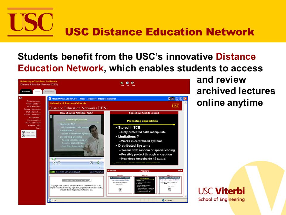 USC Distance Education Network Students benefit from the USCs innovative Distance Education Network, which enables students to access and review archi
