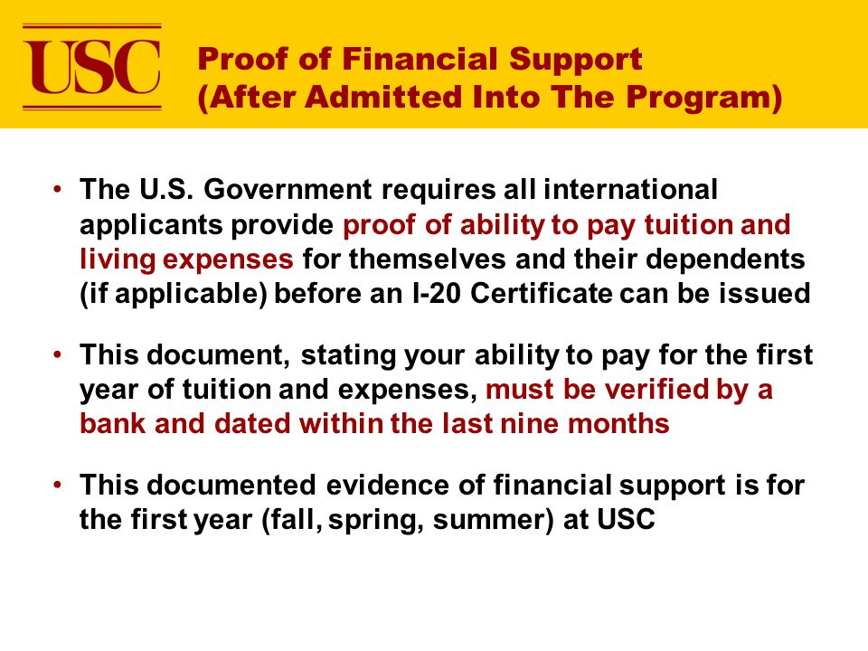Proof of Financial Support (After Admitted Into The Program) The U.S.