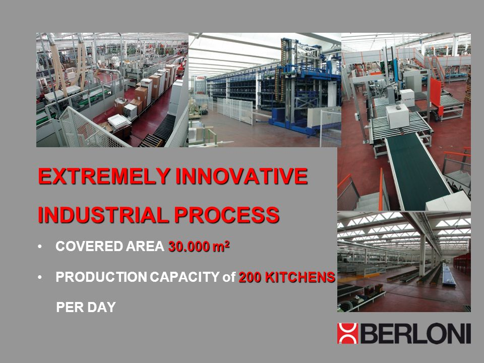 EXTREMELY INNOVATIVE INDUSTRIAL PROCESS 30.000 m 2COVERED AREA 30.000 m 2 200 KITCHENSPRODUCTION CAPACITY of 200 KITCHENS PER DAY