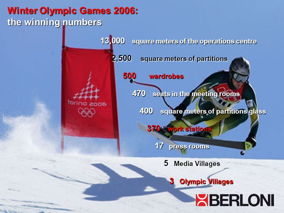 Winter Olympic Games 2006: the winning numbers 13,000 square meters of the operations centre 2,500 square meters of partitions 2,500 square meters of