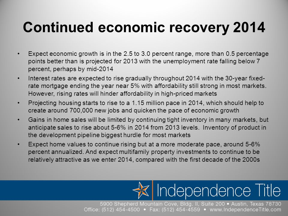 Continued economic recovery 2014 Expect economic growth is in the 2.5 to 3.0 percent range, more than 0.5 percentage points better than is projected for 2013 with the unemployment rate falling below 7 percent, perhaps by mid-2014 Interest rates are expected to rise gradually throughout 2014 with the 30-year fixed- rate mortgage ending the year near 5% with affordability still strong in most markets.