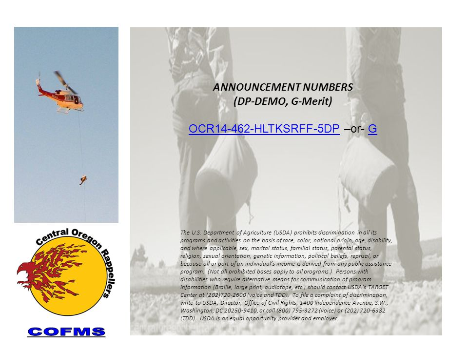 ANNOUNCEMENT NUMBERS (DP-DEMO, G-Merit) OCR14-462-HLTKSRFF-5DPOCR14-462-HLTKSRFF-5DP –or- GG The U.S.
