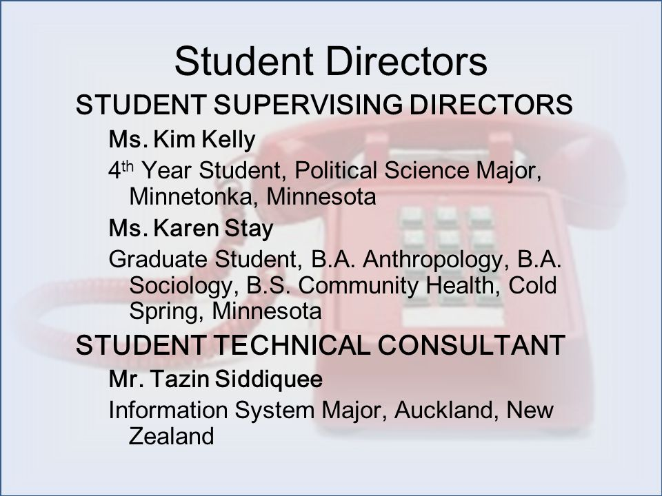ASSISTANT STUDENT SUPERVISING DIRECTOR Mr.