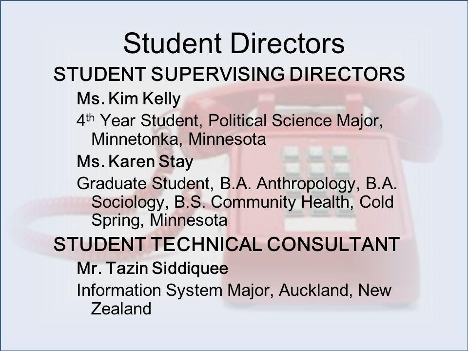 Student Directors STUDENT SUPERVISING DIRECTORS Ms.