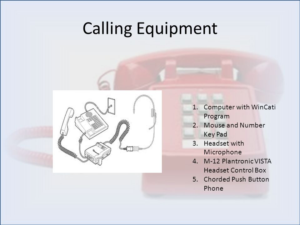 Calling Equipment 1.Computer with WinCati Program 2.Mouse and Number Key Pad 3.Headset with Microphone 4.M-12 Plantronic VISTA Headset Control Box 5.C