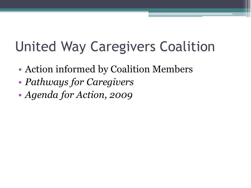 United Way Caregivers Coalition Action informed by Coalition Members Pathways for Caregivers Agenda for Action, 2009