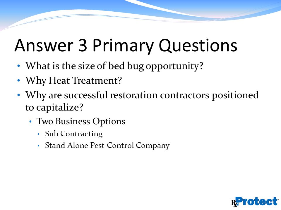 Answer 3 Primary Questions What is the size of bed bug opportunity.