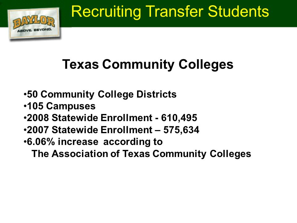 Recruiting Transfer Students Texas Community Colleges 50 Community College Districts 105 Campuses 2008 Statewide Enrollment - 610,495 2007 Statewide Enrollment – 575,634 6.06% increase according to The Association of Texas Community Colleges