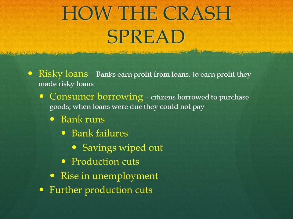 HOW THE CRASH SPREAD Risky loans – Banks earn profit from loans, to earn profit they made risky loans Consumer borrowing – citizens borrowed to purcha