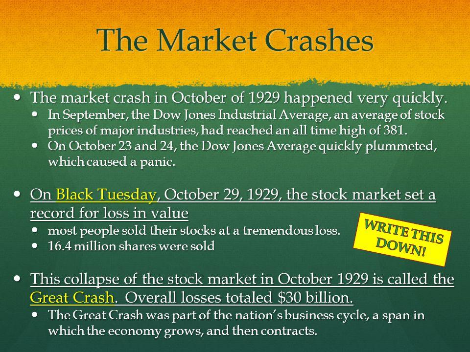 The Market Crashes The market crash in October of 1929 happened very quickly. The market crash in October of 1929 happened very quickly. In September,