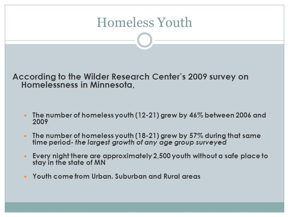 Homeless Youth According to the Wilder Research Centers 2009 survey on Homelessness in Minnesota, The number of homeless youth (12-21) grew by 46% between 2006 and 2009 The number of homeless youth (18-21) grew by 57% during that same time period- the largest growth of any age group surveyed Every night there are approximately 2,500 youth without a safe place to stay in the state of MN Youth come from Urban.