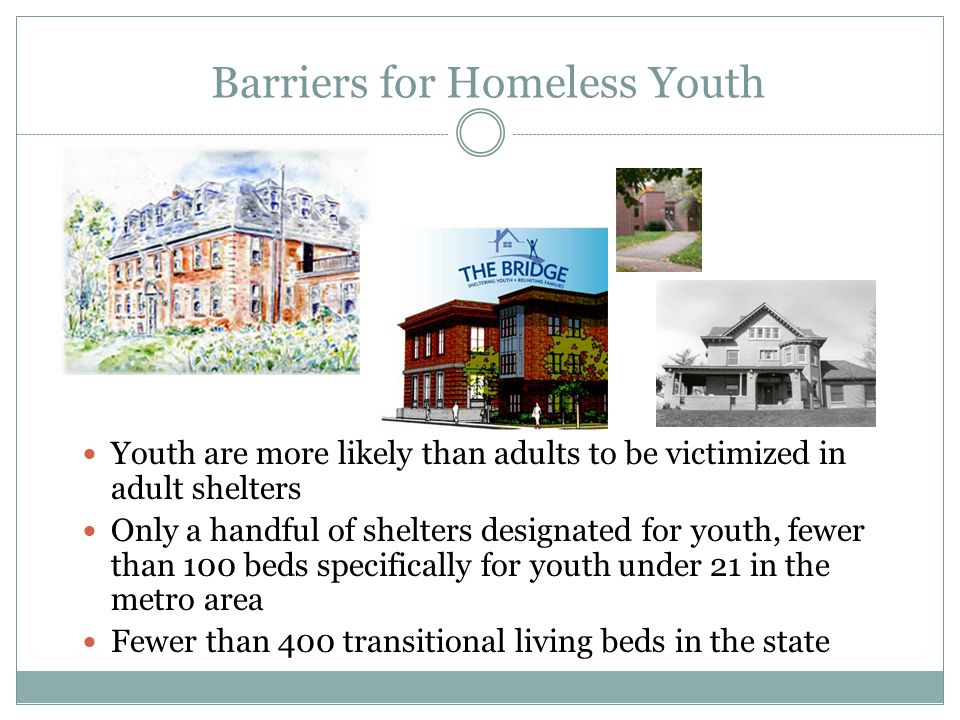 Barriers for Homeless Youth Youth are more likely than adults to be victimized in adult shelters Only a handful of shelters designated for youth, fewer than 100 beds specifically for youth under 21 in the metro area Fewer than 400 transitional living beds in the state