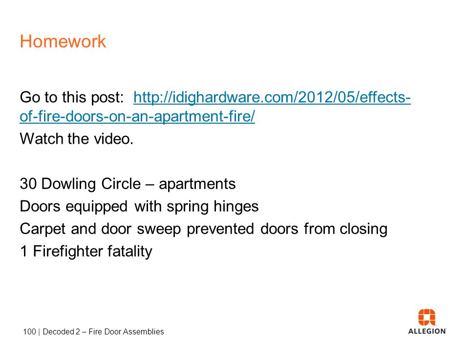 99   Decoded 2 – Fire Door Assemblies Session 2 – Fire Doors NFPA 80 – format and organization * asterisk,   vertical line, Chapter 6 Purpose of fire