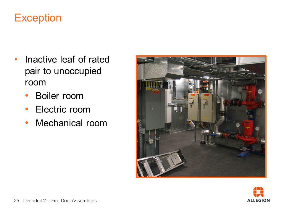 24   Decoded 2 – Fire Door Assemblies Exception Fire doors in common walls between R-1 sleeping units AKA communicating doors between hotel rooms