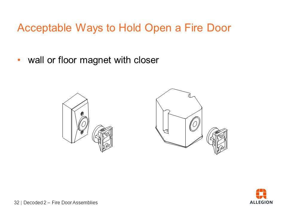 31   Decoded 2 – Fire Door Assemblies Fusible Link Arm Current codes require smoke-actuated hold-opens for almost all fire door locations.