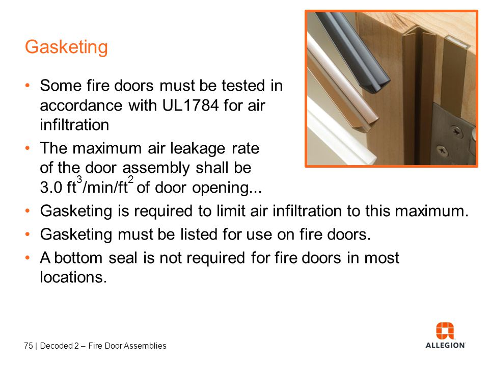 74 | Decoded 2 – Fire Door Assemblies Fire Test Methods IBC 2009: 715.4.1 Side-hinged or pivoted swinging doors. Fire door assemblies with side-hinged