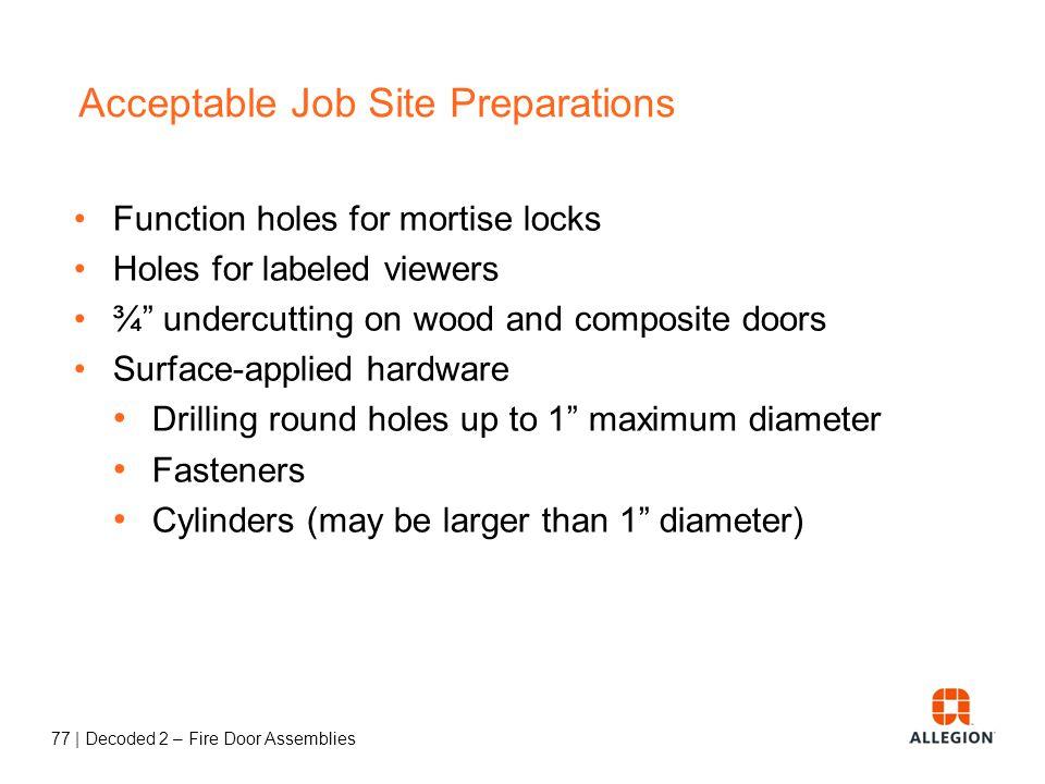 76   Decoded 2 – Fire Door Assemblies Other Fire Door Basics… Job-Site Preparations