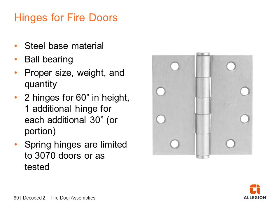 88 | Decoded 2 – Fire Door Assemblies Protection Plates 16 maximum above the bottom of the door Or UL listed Or installed under label service