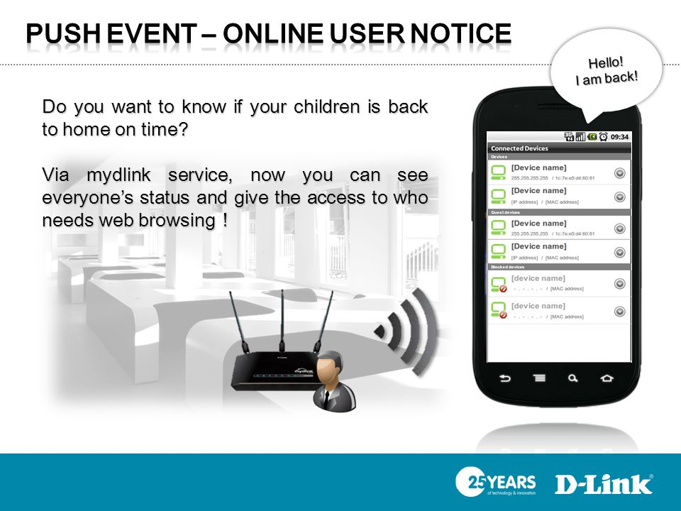 Hello! I am back! Do you want to know if your children is back to home on time? Via mydlink service, now you can see everyones status and give the acc