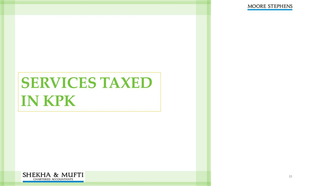 53 SERVICES TAXED IN KPK