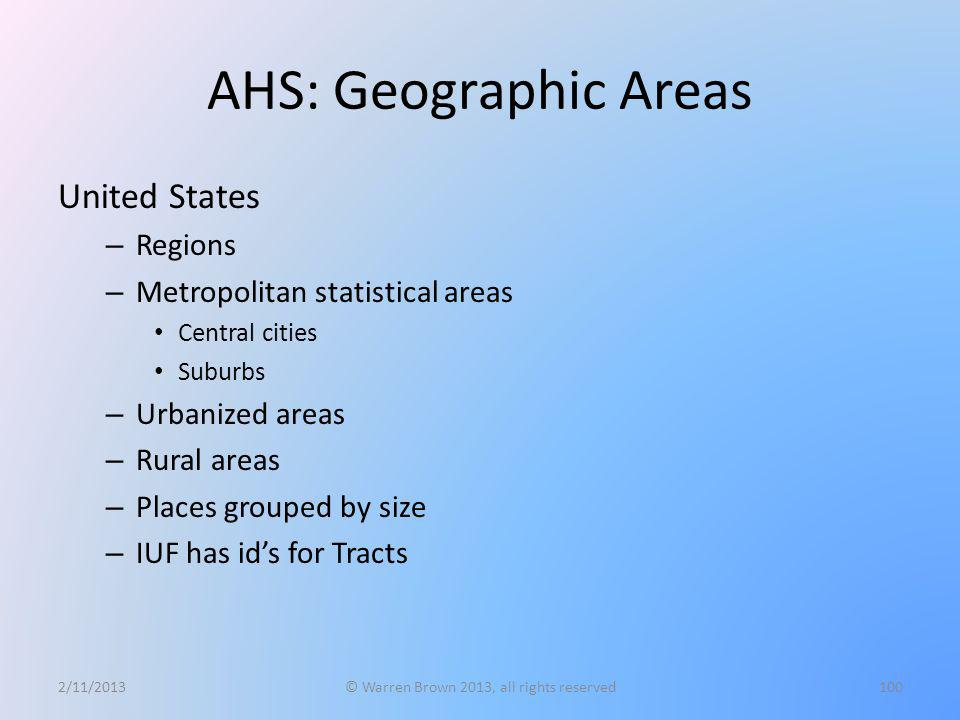 AHS: Geographic Areas United States – Regions – Metropolitan statistical areas Central cities Suburbs – Urbanized areas – Rural areas – Places grouped