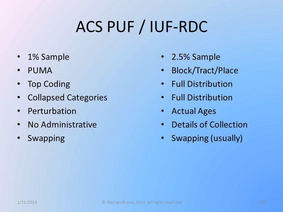 ACS PUF / IUF-RDC 1% Sample PUMA Top Coding Collapsed Categories Perturbation No Administrative Swapping 2/11/2013© Warren Brown 2013, all rights rese