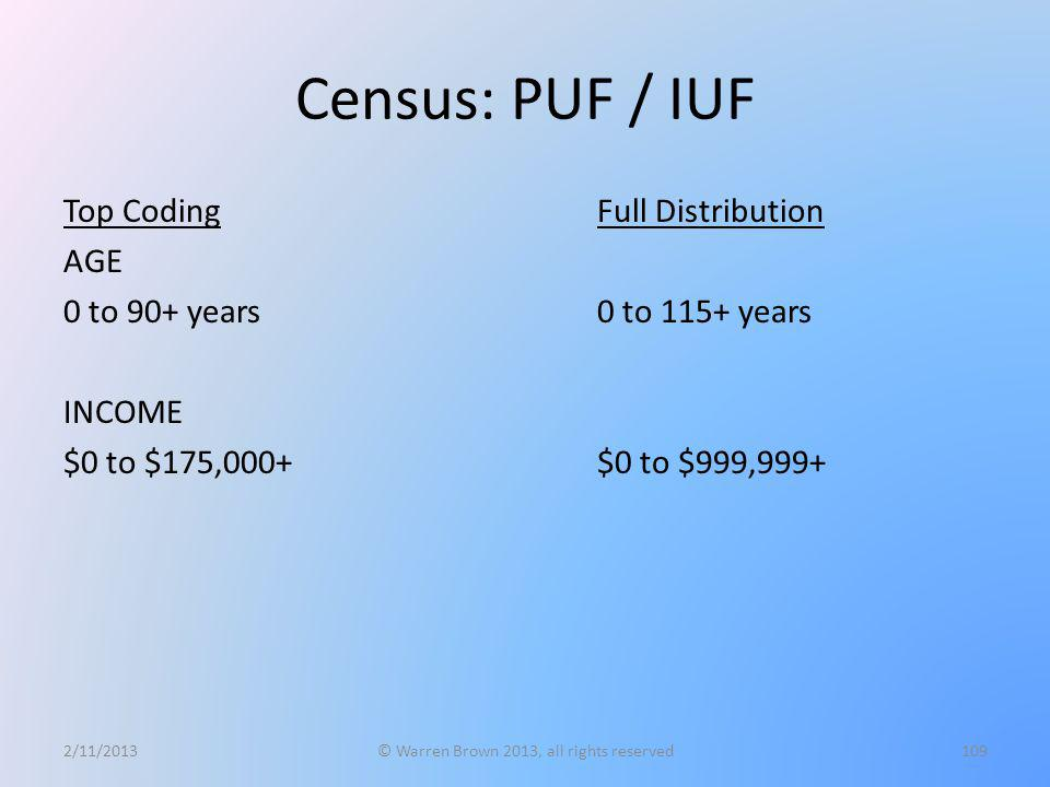 Census: PUF / IUF Top Coding AGE 0 to 90+ years INCOME $0 to $175,000+ 2/11/2013© Warren Brown 2013, all rights reserved109 Full Distribution 0 to 115